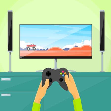 ゲーマー テレビ画面でビデオ ゲームをプレイ