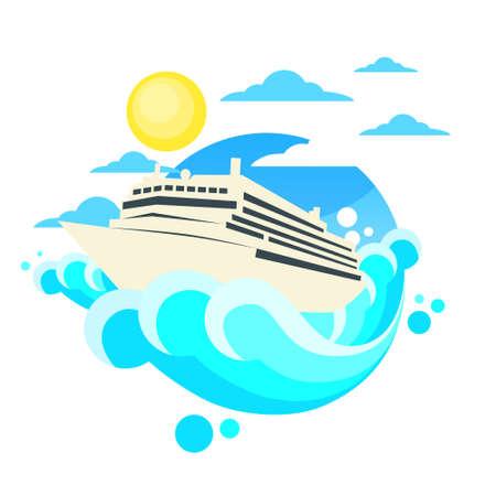caribbean cruise: Cruise Ship Liner Summer Ocean Illustration
