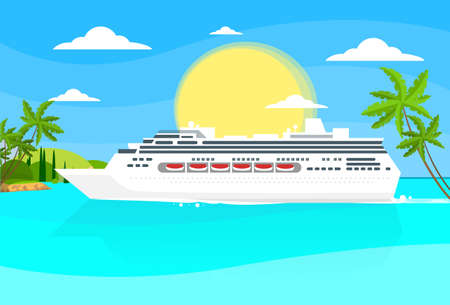 caribbean cruise: Cruise Ship Liner Tropical Island Illustration
