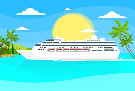 Nave da crociera Liner Tropical Island Vettoriali