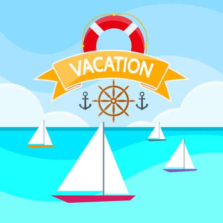 transportation cartoon: Sailing boat on Sea Illustration