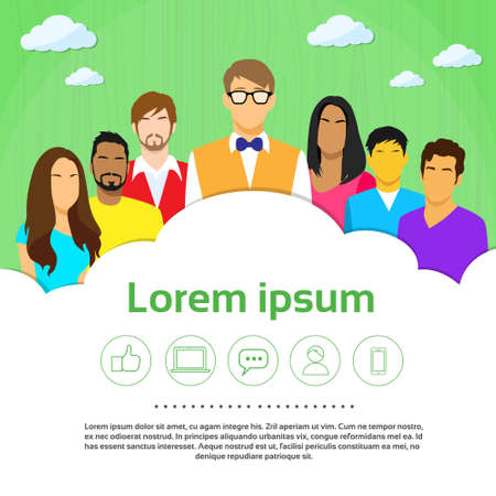 diverse business team: Group of People in Casual Illustration