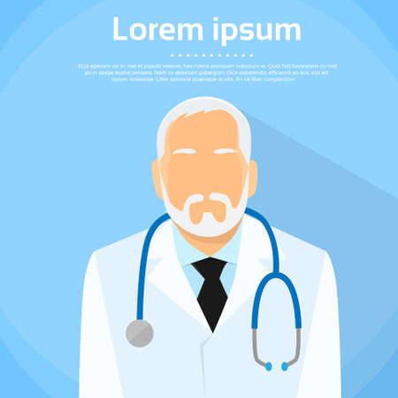 doctors: Senior Medical Doctor Profile Icon  Illustration