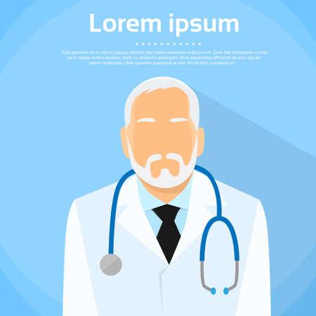 doctor: Senior Medical Doctor Profile Icon  Illustration