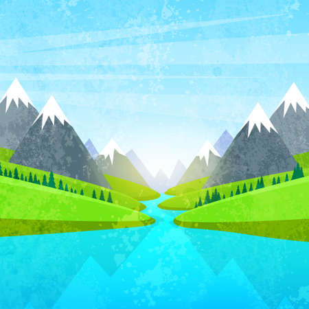 산과 강 풍경 일러스트
