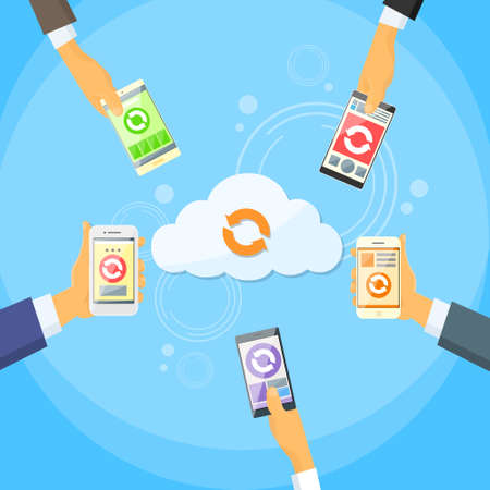 remote backup service: Cell Phone with Cloud Data  Illustration