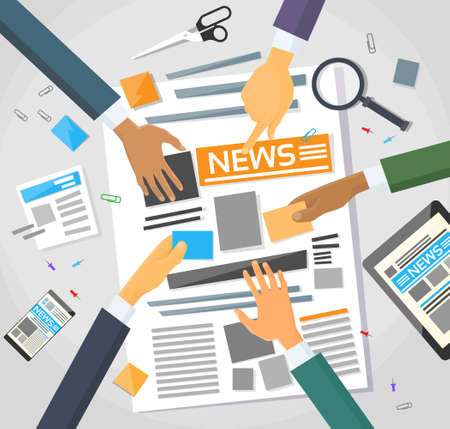 periodicos: Noticias Editor turística Workspace Vectores