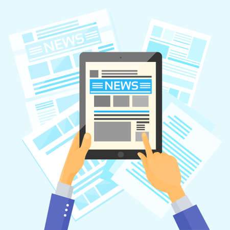 announcement icon: Hands Hold Tablet News