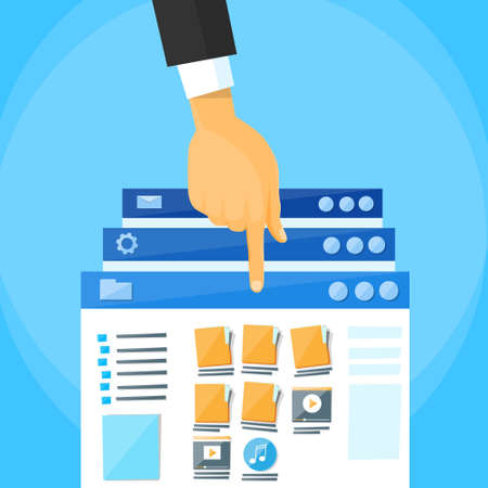 online business: Multitasking Interface Window Illustration