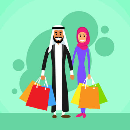 arabic: Arab Man and Woman Shopping Arabic Couple Man and Woman Bags Flat Vector Illustration