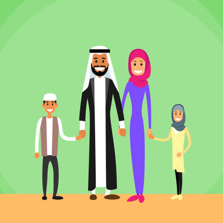 family with two children: Arab Family Four People, Arabic Parents Two Children Flat Vector Illustration