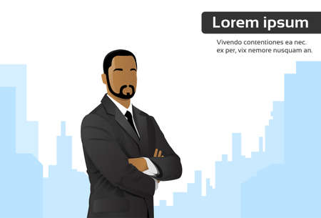 Businessman Cartoon African American Ethnic Executive Business Man over City Skyscraper Flat Vector Illustration Illustration