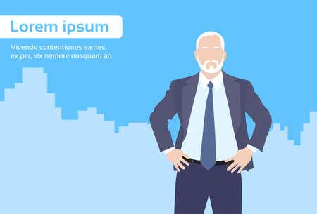 senior business man: Businessman Senior Boss Business Owner Cartoon City Skyscraper Flat Vector Illustration