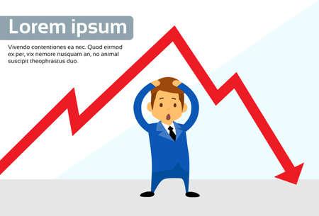 fall down: Businessman Financial Graph Red Arrow Negative Fall Down Flat Vector Illustration Illustration