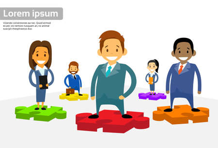 diverse business team: Business People Group Standing on Puzzle Piece Diverse International Team Vector Illustration