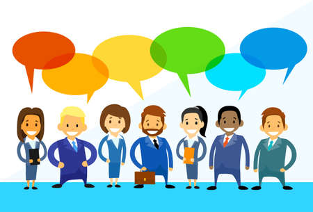 mensen groep: Business Cartoon People Group Talking Discussing Chat Communication Social Network Flat Icon Vector Illustration Stock Illustratie