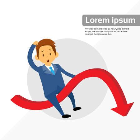 fall down: Businessman Riding Financial Graph Red Arrow Negative Fall Down Flat Vector Illustration