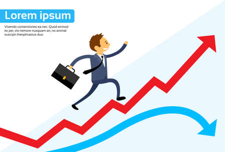 up arrow: Businessman Running Red Arrow Graph Up Climbing Flat Vector Illustration