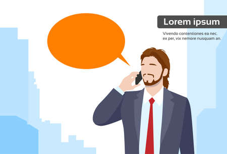 talking phone: Businessman Smart Phone Talk Chat Bubble Communication Flat Vector Illustration