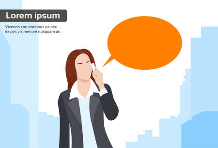 woman cellphone: Businesswoman Smart Phone Talk Chat Bubble Communication Flat Vector Illustration Illustration