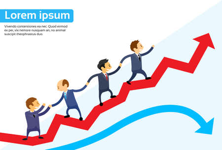 growth arrow: Business People Running Red Arrow Graph Up Climbing Cartoon Businesspeople Group Team Vector Illustration