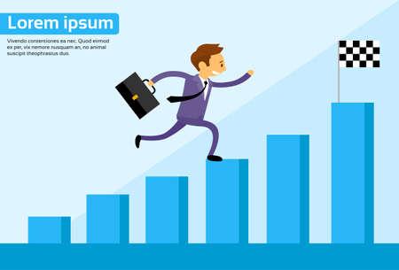 crecimiento: Hombre Run Bar Financiera Gráfico de la historieta de negocios hombre de negocios Gráfico de crecimiento Escalada Ilustración vectorial Flat