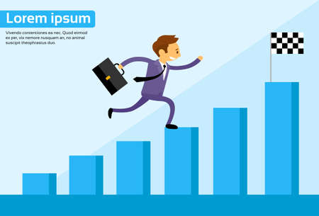 Businessman Run Financial Bar Graph Cartoon Business man Climbing Growth Chart Flat Vector Illustration Illustration