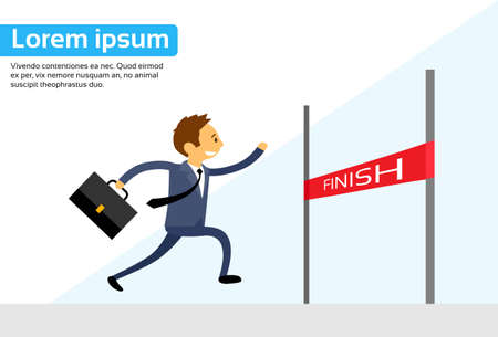 finishing line: Businessman Run Cross Finish Line Flat Vector Illustration