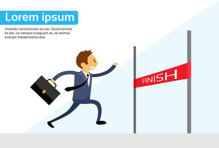 fila de personas: El hombre de negocios Ilustración Run Cruz Finish Line plana vectorial
