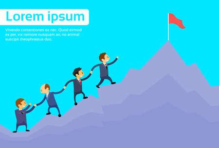 Gente de negocios del equipo de escalada Top Peak, Empresarios grupo ilustración de dibujos animados de alta montaña plana vectorial Foto de archivo - 43434836
