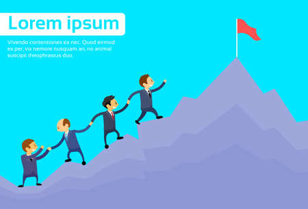 escalando: Gente de negocios del equipo de escalada Top Peak, Empresarios grupo ilustración de dibujos animados de alta montaña plana vectorial Vectores