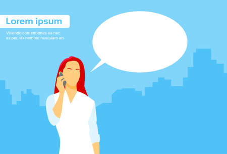 chat box: Casual Woman Smart Phone Talk Chat Box Communication Flat Vector Illustration