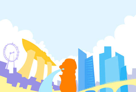 Singapore Skyline City Skyscraper Silhouette Flat Colorful Illustration Illustration