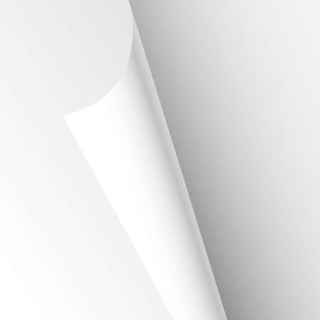Blank Paper Sheet Curl Corner, Empty Page Bend Vector illustration