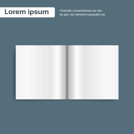 book background: Magazine Open Page Book Blank Empty Sheet Vector Illustration