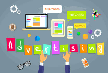 online advertising: Online Advertising Internet Web Creative Concept Flat Vector Illustration