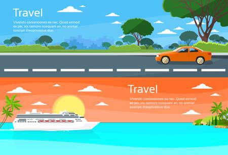 landscape road: Travel Web Banner Car Drive Road, Cruise Ship Liner Tropical Island Summer Vacation Flat Vector Illustration