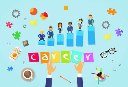 career success: Business People Career Concept Cartoon Businesspeople Group Human Resource Vector Illustration
