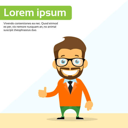 young worker: Cartoon Man Hand Shake Welcome Gesture Smile Person Character Flat Vector Illustration