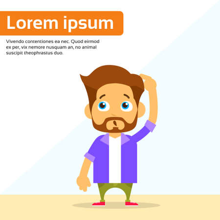 confusion: Man Confused Hold Hand on Head Unsure Concept Cartoon Person Look Up Character Flat Vector Illustration