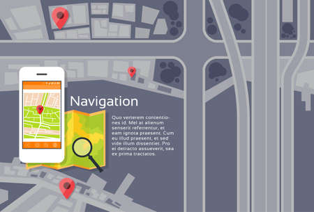 navigazione: Phone Application City Map Navigation Search Street With Pins Icons Flat Vector Illustration