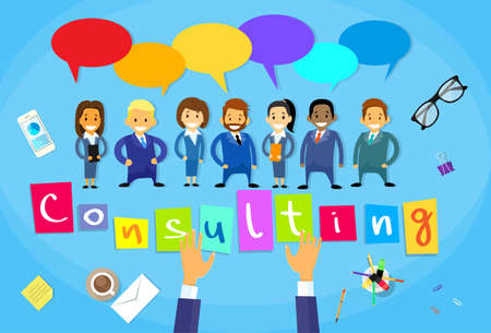 teamwork cartoon: Business People Consulting Group Talking Discussing Chat Communication Social Network Desk Concept Flat Vector Illustration