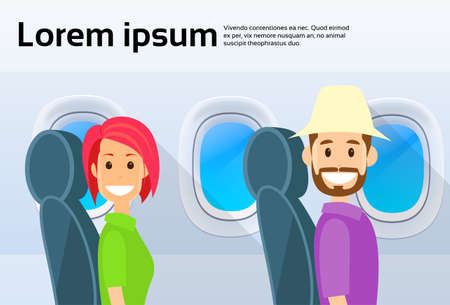airplane window: Tourist Couple Airplane Window Cartoon People Man and Woman Travel Flight Characters Flat Vector Illustration