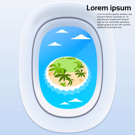 airplane wing: Aircraft Window View Tropical Island Ocean Summer Vacation Plane Tourism Flight Flat Vector Illustration