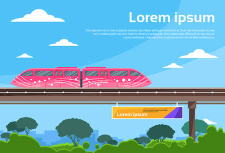 fast train: Monorail Train Sky Subway Public Flat Vector Illustration Illustration