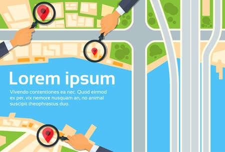 navegacion: Calle Ciudad Mapa de navegación Búsqueda mano Lupa con la ilustración de botones iconos planos del vector