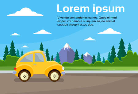 summer cartoon: Car Road Landscape Mountain Flat Vector Illustration Illustration