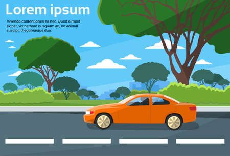 road travel: Car Drive Road Landscape Flat Vector Illustration