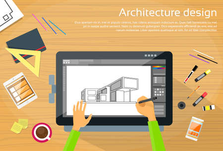 pen on paper: Architecture Designer Workplace Desk Big Digital Tablet Drawing Flat Vector Illustration