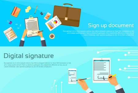 Contract Aanmelden papieren document Zakenman overeenkomst Digital Signature Tablet Computer Smart Cell Phone Web Banner Flat Vector Illustration